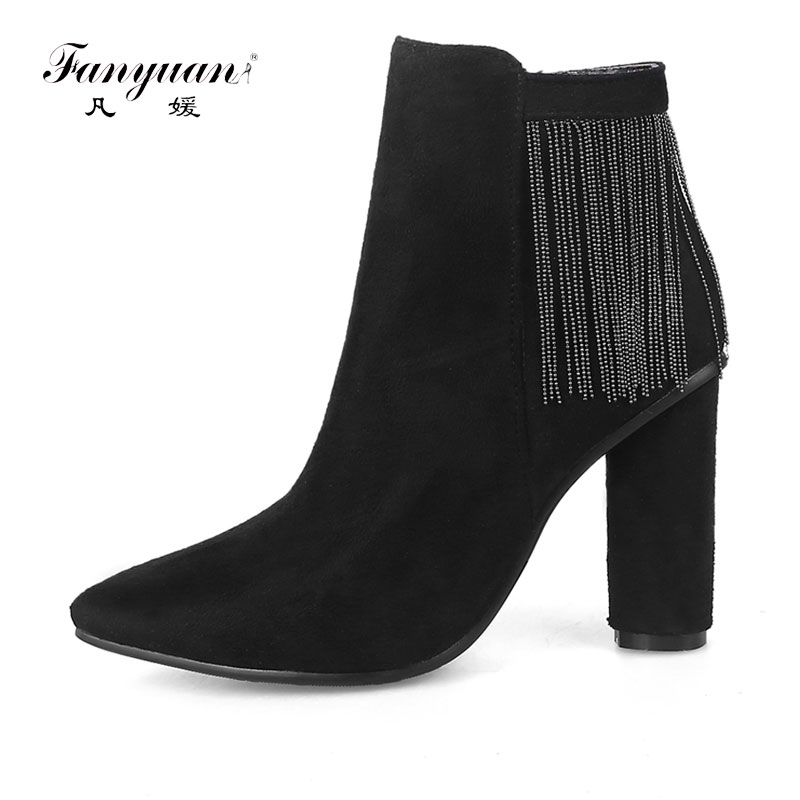 Fanyuan New designer Women boots Autumn winter warm high heels snow boots Lady Fashion suede tassel Martin Ankle boots shoes массажер дельтатерм шарик ежик цвет зеленый диаметр 50 мм