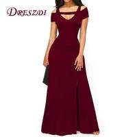 Liva Girl Women Sexy Cold Shoulder High Split Vintage Long Dress Elegant Flare Maxi Party Dresses