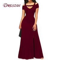 Liva Girl Women Sexy Cold Shoulder High Split Vintage Long Dress Elegant Flare Maxi Party Dresses