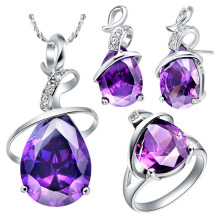 NEW white gold set of purple crystal suit 925 sterling silver foreign trade new stone necklace