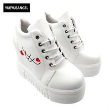 Korean Women Cute Graffiti font b Shoes b font Wedge Heel High Platform Shoees Woman Rainbow