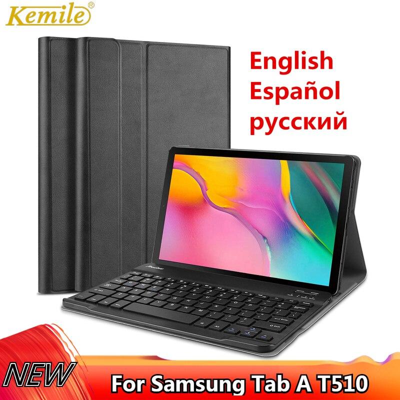 Kemile Russa caso de Teclado Para Samsung Galaxy Tab 2019 SM-T510 SM-T515 T510 T515 caso Destacável Teclado Capa Tablet