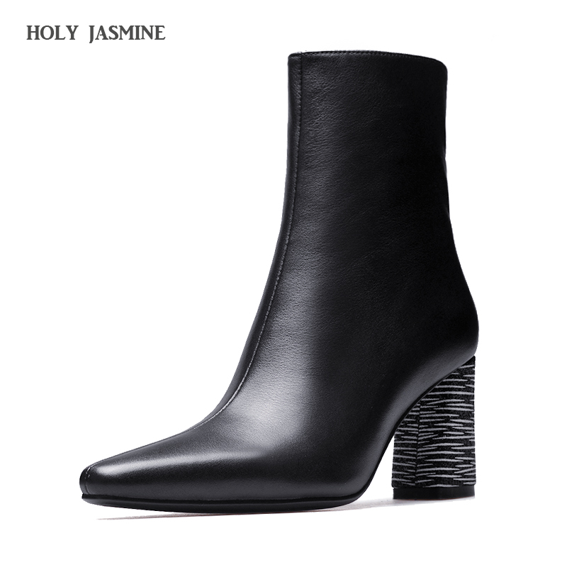 Women's Shoes Black Ankle Boots For Women Genuine Leather Short Boots Women Female Fashion High Heel Hademade Ladies Booties ankle boots for women leather boots luxury designer socks shoes short female knitting weave fashion high heel boots 10cm heel