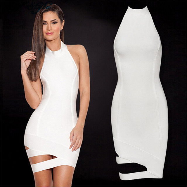 Sleeveless White Famous Sexy Night Club Wear Vestidos De Renda Women Beautiful Summer Big Ass Chinese High Quality Bandage Dress