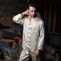 2019 New Sale Pure Silk Satin Sleepwear Long Sleeve Men Pyjamas Pajama Sets Pants 100% Natural Silk Pajama Set Wholesales YE2065