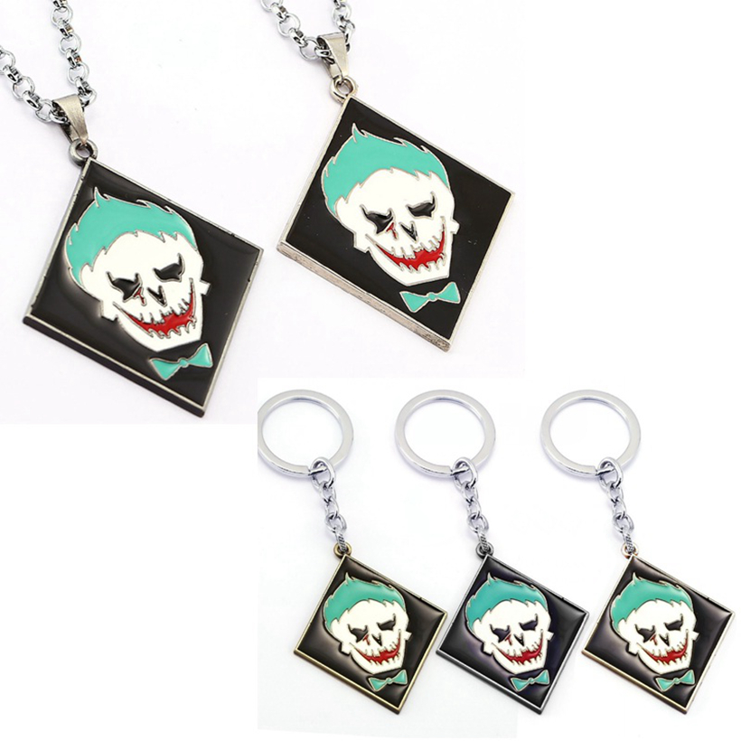 Marvel Suicide Squad Joker Necklace Metal Key Chains Pendant 3Colour Chaveiro KeyRing Model Toy Figures For boys Girls Gift