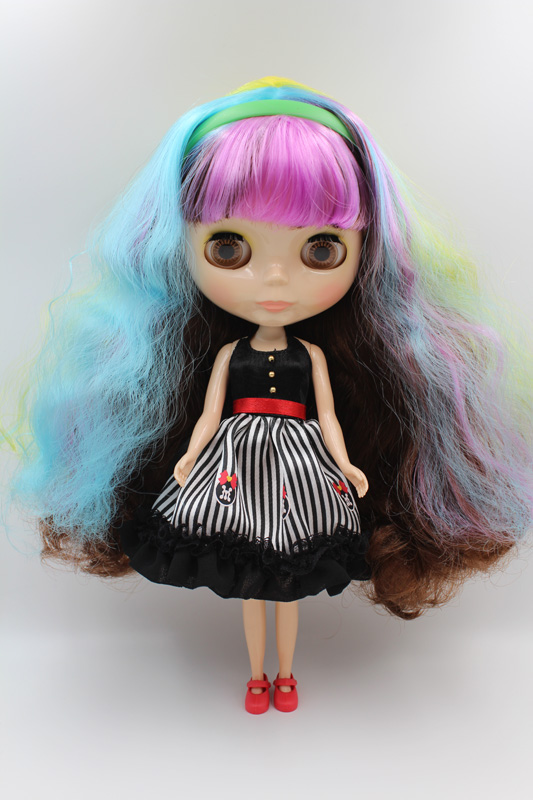 Free Shipping big discount RBL-308DIY Nude Blyth doll birthday gift for girl 4colour big eyes dolls with beautiful Hair cute toy free shipping bjd joint rbl 415j diy nude blyth doll birthday gift for girl 4 colour big eyes dolls with beautiful hair cute toy