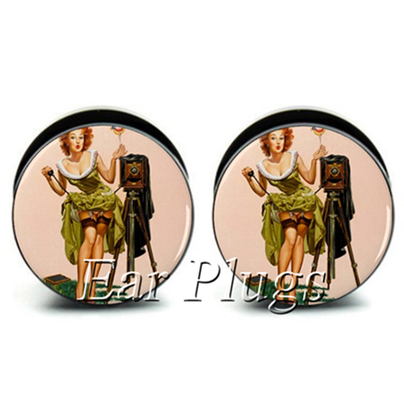 1 pair pin girl ear plug gauges tunnel acrylic screw flesh tunnel body piercing jewelry PAP0267