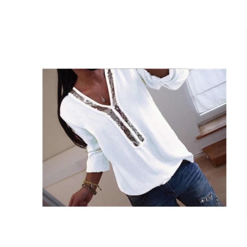 Новинка 2019, женская сексуальная шифоновая блузка с v-образным вырезом и блестками, рубашка, весна-лето, с длинными рукавами, черно-белые блузки, топы, большие размеры 5XL C0571