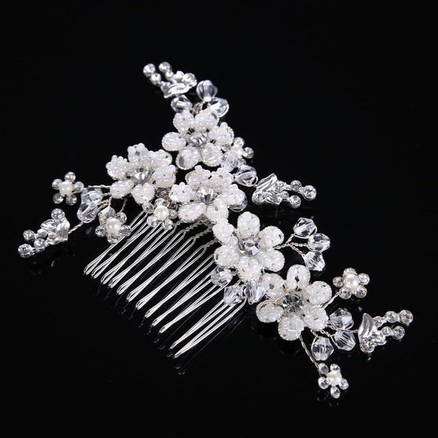 82cead8a1a96c Luxury Heavy Handmade Pearl Flower Hair Combs Crystal Hair Jewelry Vintage Wedding  Hair Accessories Bridal Head Piece For Bride