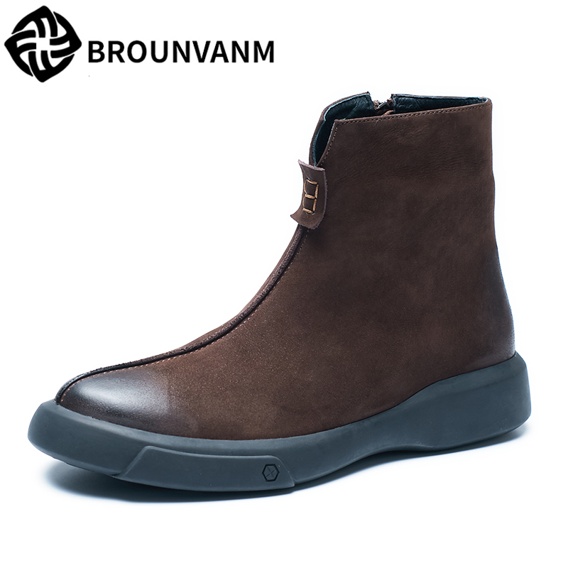velvet mens Riding boots genuine leather high top shoes retro Chelsea boots British male autumn winter