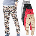 Autumn Casual Camouflage Faux Leather Pencil Trousers zipper Black Red Sliver slim Zipper Plus Size mens skinny pants