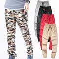 Otoño Camuflaje Ocasional Pantalones de Cuero de Imitación Lápiz cremallera Negro Rojo Astilla delgada Cremallera Más El Tamaño para hombre pantalones flacos