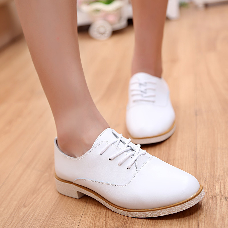 Cute White Women Flats Shoes Nice New Girl's Loafers Soft Cow Leather Pointed Toe Woman's Leisure Shoes