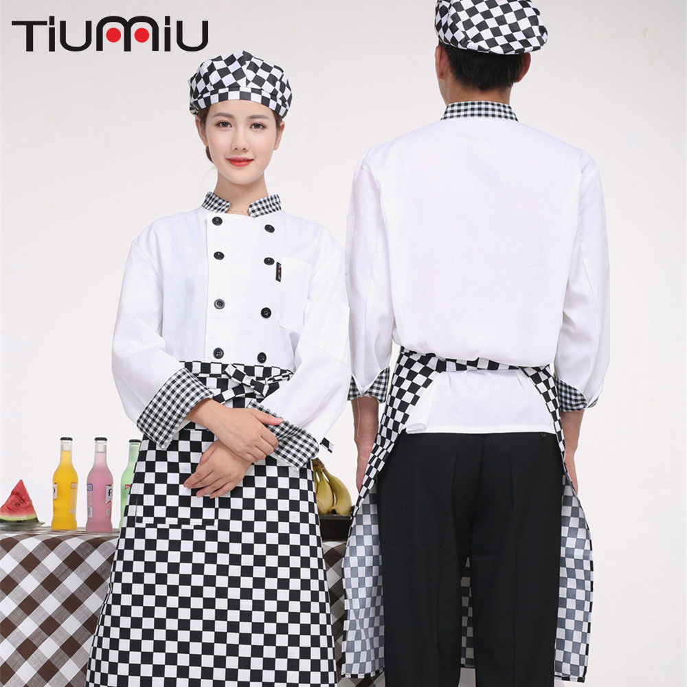 Unisex Chef Jacket Food Service Double Breasted Stand Checkerboard Collar Patchwork Long Sleeve Cuisine Catering Workwear