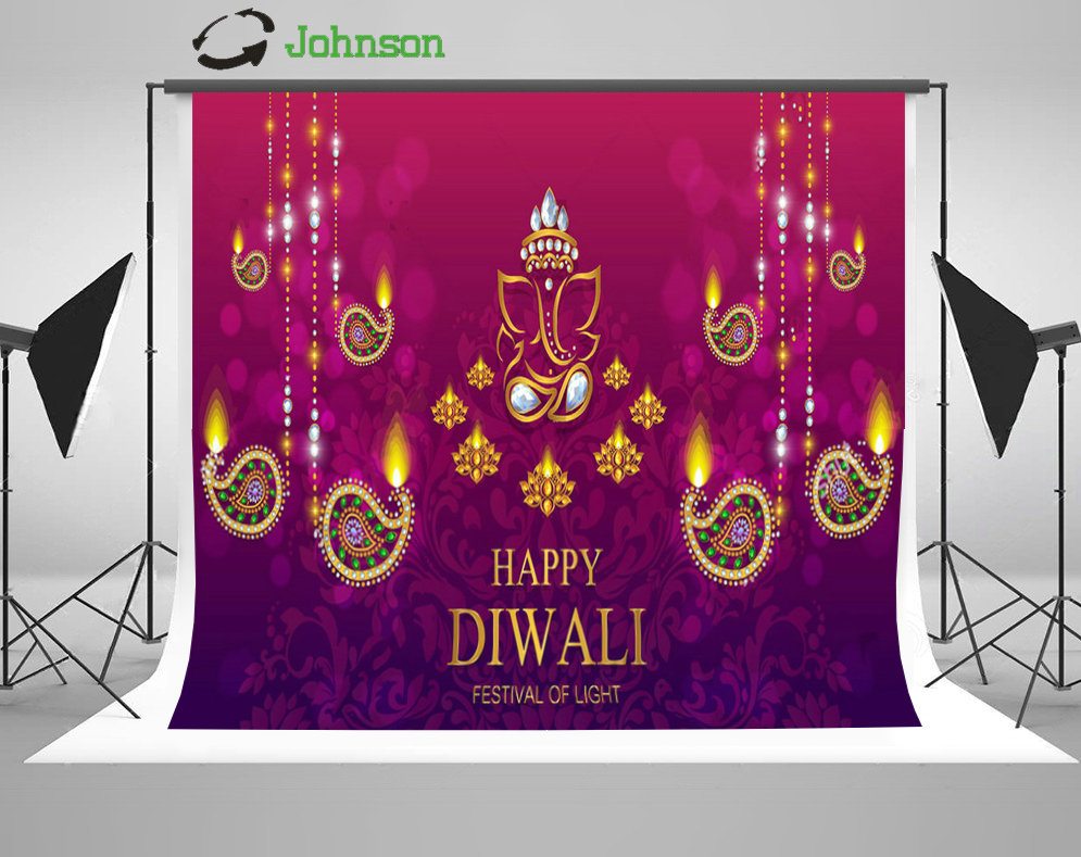 Happy Diwali Festive Gold Diya Crystals Color backdrop polyester or Vinyl cloth High quality Computer print wall Background happy print water color crop tee