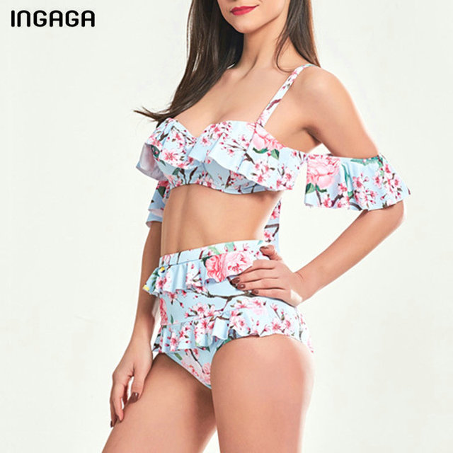 28aedf8f767244 INGAGA High Waist Bikini 2019 Ruffle Swimwear Women Push Up Swimsuit  Printed Strap Bathing Suits New