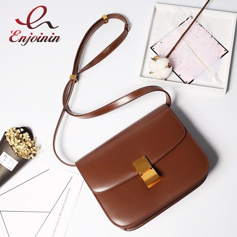 Classic Design Real Leather Vintage Buckles Casual Women's Crossbody Messenger Bag Female Purse Shoulder Bag Bolsa Designer Bag