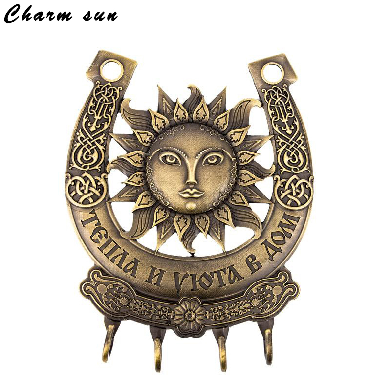 Promotional sun key chains! vintage horseshoe car Keyring Wall Mount Hook Key Hanger Holder Zinc Alloy Key Holder. Small charms