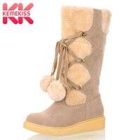 KemeKiss Women Tassel Snow Boots High Heels Zipper Shoes Winter Mid Calf Boots Plush Fur Platform Metal Chain Boots Size 34 43
