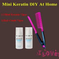 2 120ML Brazilian Keratin Treatment Straighten Hair Product And Hair Comb DIY At Home Free Shipping
