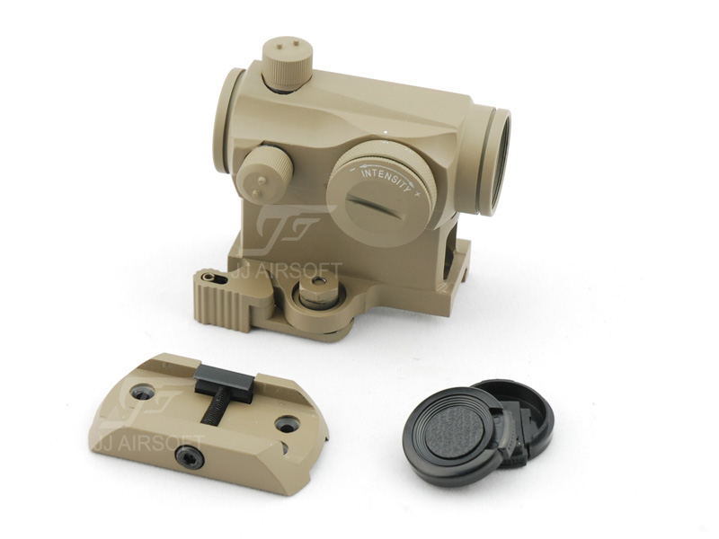 JJ Airsoft Micro 1x24 Red Dot with QD Riser Mount , Low Mount (Tan) jj airsoft xps 3 2 red green dot qd mount tan