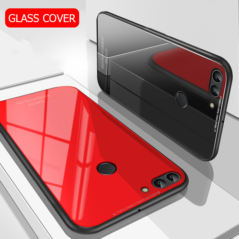 US $3 74 25% OFF|For Huawei Honor 9N Case Luxury Slim Fit Glossy Tempered  Glass Silicone Frame Hard Cover Back Shockproof Housing For Honor 9i-in