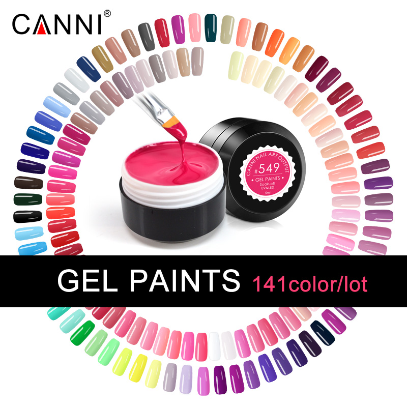 141PCS LOT CANNI SOAK OFF LONG LASTING FAST DRY LED PURE COLORS VARNISH 5ML LED UV