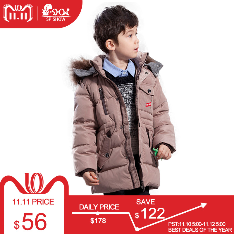 SP-SHOW Winter Children's Outwear Boy Solid Hooded Zipper Jacket Coats Kids Ski Clothing Down and Parkas For 3-7 Age 85025 цена