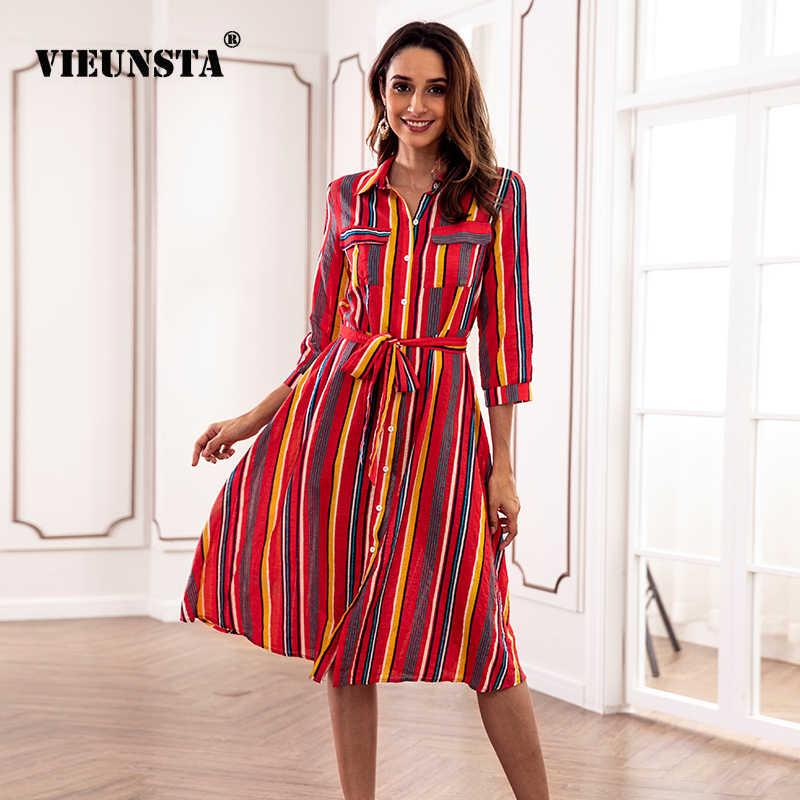 97b2d3f5ba4 ... VIEUNSTA Vintage Rainbow Striped Boho Maxi Dress Women Button Side Split  Long Dress Casual Turn- ...
