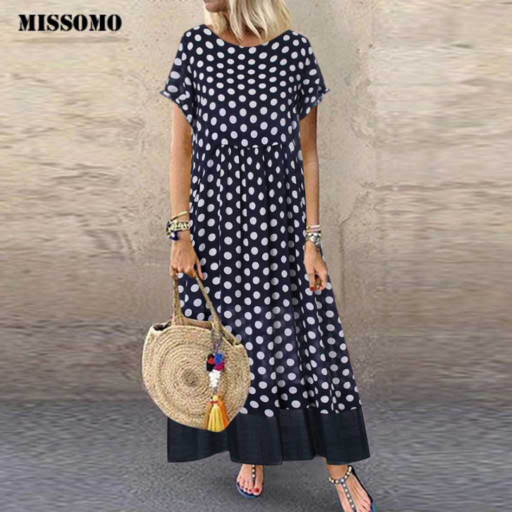 MISSOMO Plus size dress Women vintage Polka Dot Fake Two Pieces O-Neck Short Sleeve Maxi Dress woemn Summer dress girl clothes 7