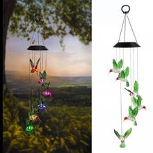 Outdoor LED Solar Hummingbirds Lamp Rechargeable Wind Chime Garden Hanging Light Windlight Suspension