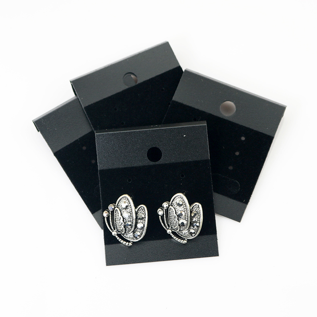 Fashion 1000pcs Black Plain Plastic Hanging Earring Cards With Lip Jewelry Display Hang 44 52mm