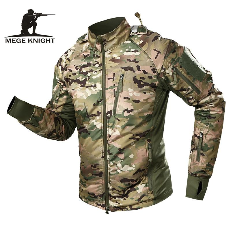 MEGE homme imperméable militaire tactique veste hommes chaud coupe-vent Bomber veste Camouflage à capuche manteau US armée chaqueta hombre