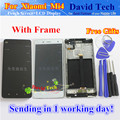 De alta qualidade da tela de toque vidro e tela de LCD digitador assembléia TP para XIAOMI 4 MI4 inteligente M4 telefone branco preto com quadro