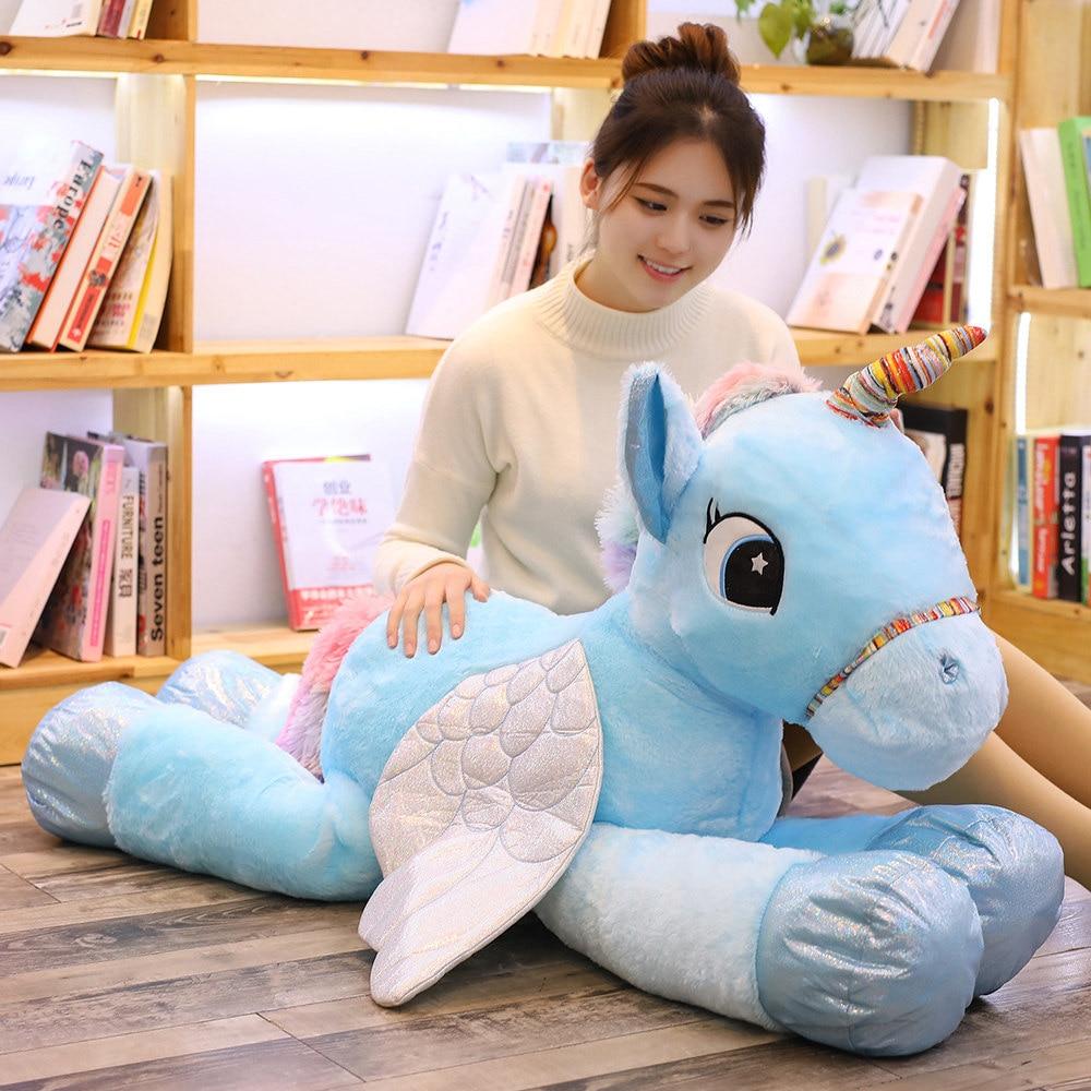 1pc 50/60/90cm Kawaii Unicorn Plush Toys Giant Stuffed Animal Horse Toys For Children Soft Doll Home Decor Lover Birthday Gift