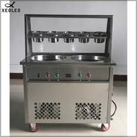 XEOLEO Double pots Roll Ice cream maker with 5 Buckets 2 Compressor Roll Ice machine Frying Ice maker R22 Yogurt Frier 3000W