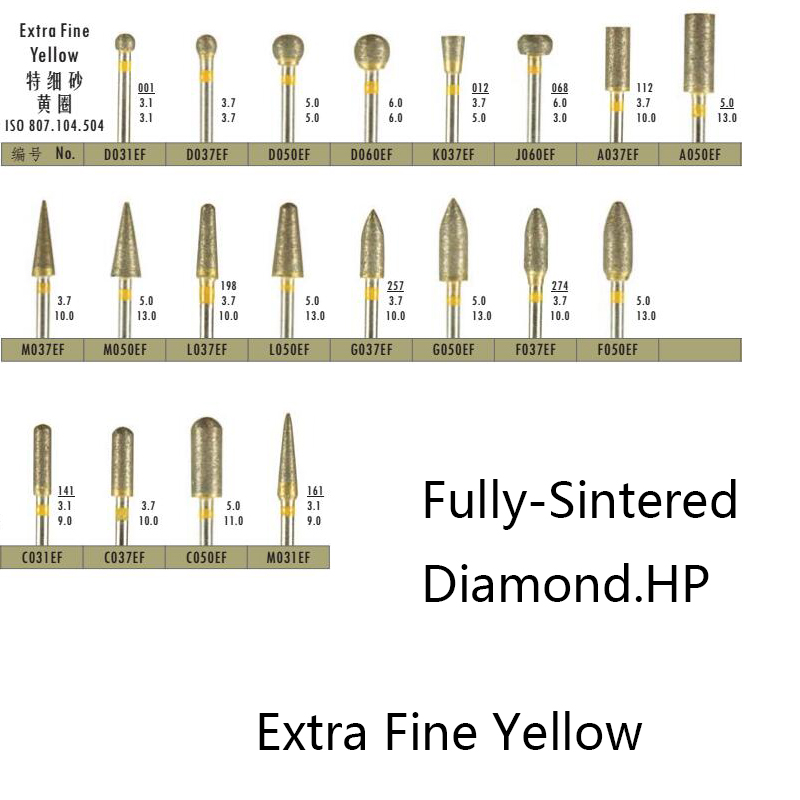 2 Pieces/Lot Dental Lab Tool Sintered Diamond Bur Extra Fine Yellow Polisher Trimming Drill For Metal Ceramics Jewellery 2.35 Mm
