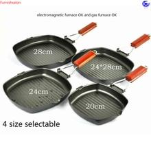 4 sizes No Oil-smoke folded handle steak pan  non-stick rust-free frying roast meat breakfast Frying Eggs cooking tools