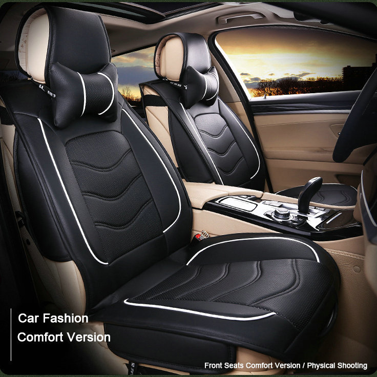 buy 8pcs set luxury leather car seat cushion universal black beige gray sport. Black Bedroom Furniture Sets. Home Design Ideas