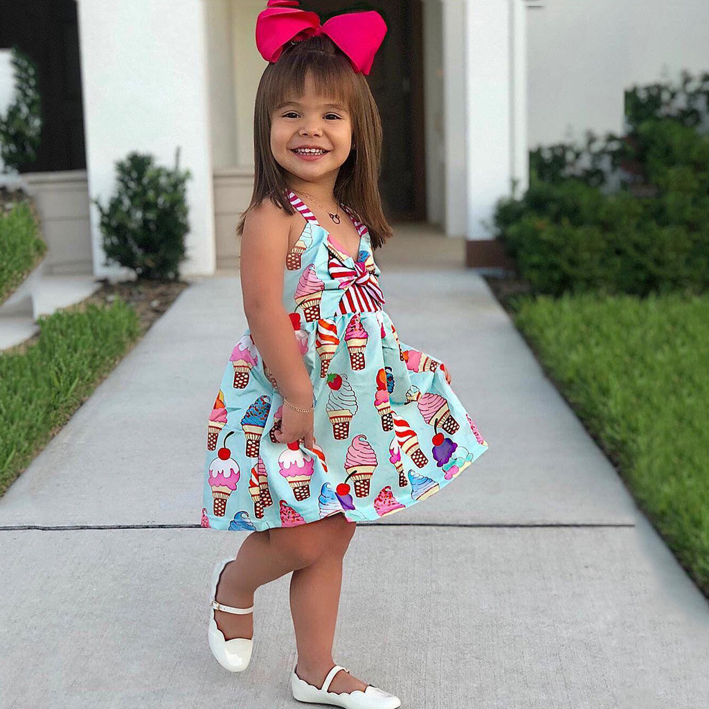 Lovely Chirdren Kids Girls Ice Cream Dresses Princess Belle Bowknot Costume Clothing Lol Birthday Party Child Girl Costume
