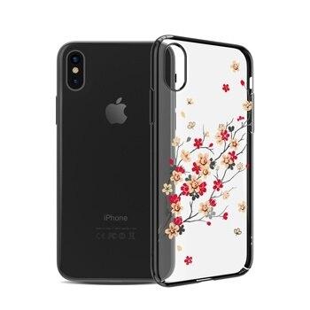 KINGXBAR for iPhone X Case Swarovski Element Rhinestone Capa Crystal Diamond Case for iPhone X Case Cherry Blossom Flower Coque iPhone