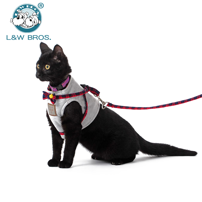 4 Colors Pet Cat Harness With Leash British Style Jacket Cat Harness Walking Training Hand Grip Straps Leash Traction Belt