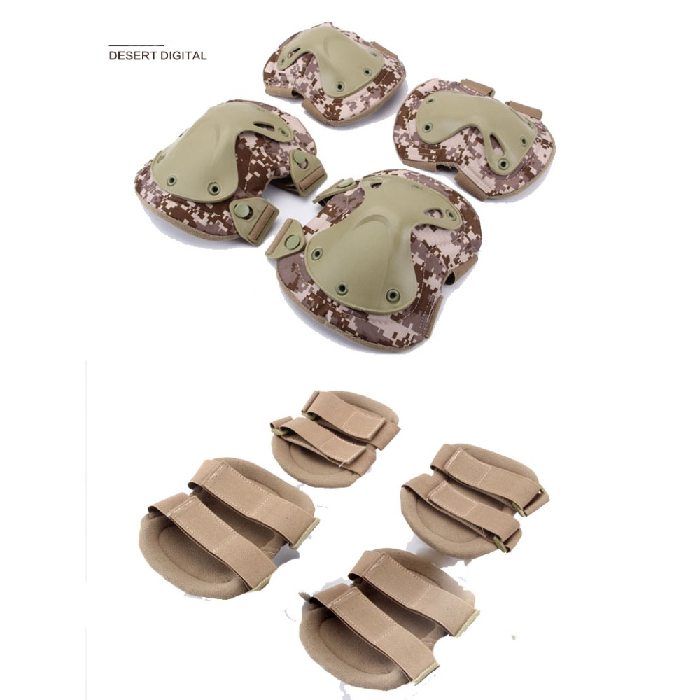 цена на 4Pcs/set Adult Tactical Combat Protective Pad Set Gear Sports Military Knee Elbow Protector Elbow & Knee Pads