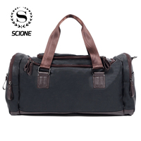 Scione Unisex Waterproof PU Leather Shoulder Bags Casual Duffel Large Capacity Handbags High Quality Retro Practical Travel Bag