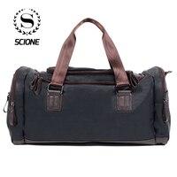 Scione Unisex su geçirmez PU deri omuz çantaları rahat spor büyük kapasiteli çanta yüksek kaliteli Retro pratik seyahat çantası