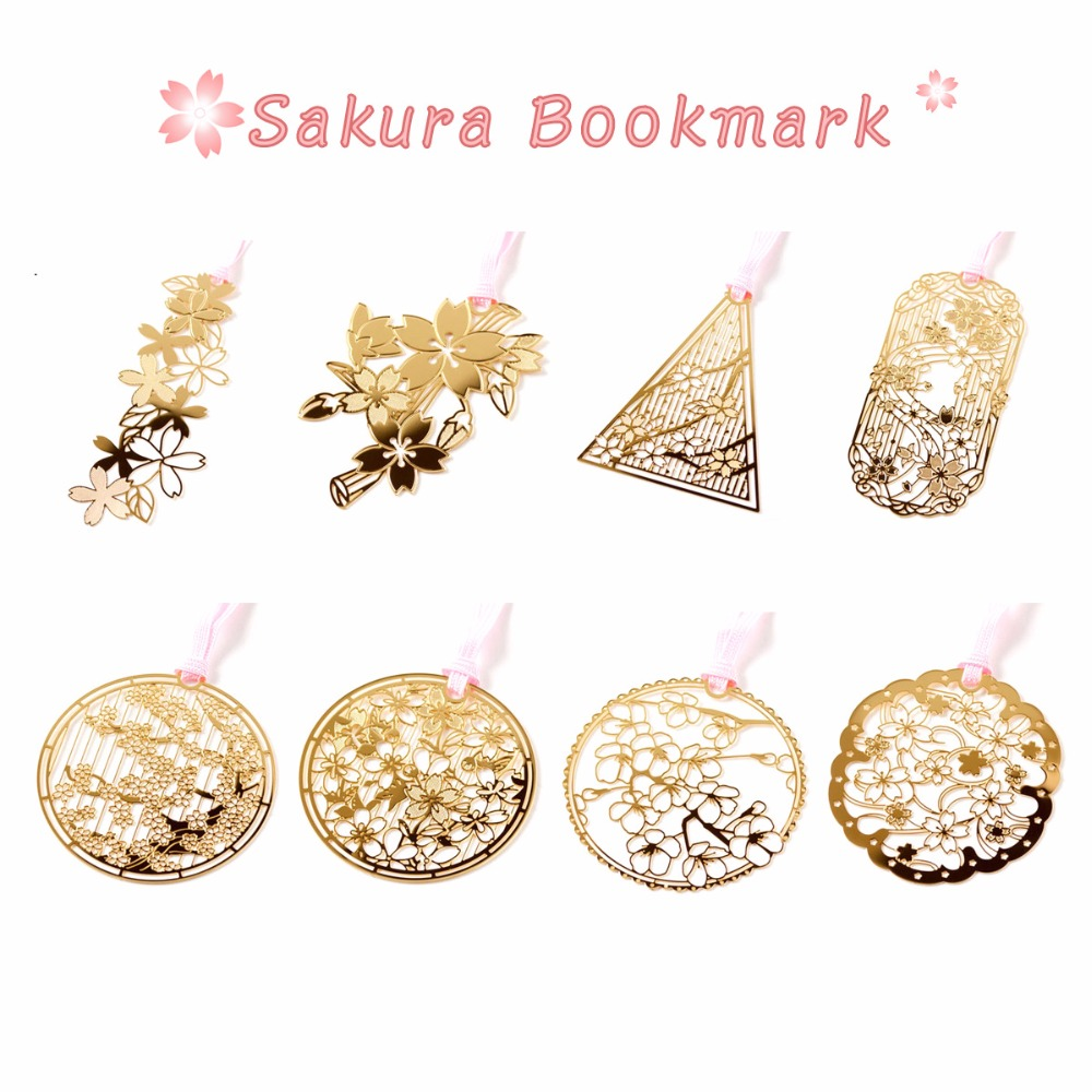 8 Pcs Sakura Golded Bookmarks Chinese Vintage Leaf Metal Book Marker Stationery Office School Supplies Material Escolar A6517