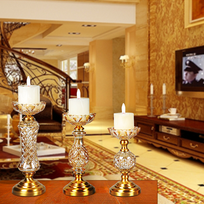 luxury crystal candle holders Feng Shui wedding candelabra centerpieces glass candle holder Candlestick home decoration crafts in Candle Holders from Home Garden