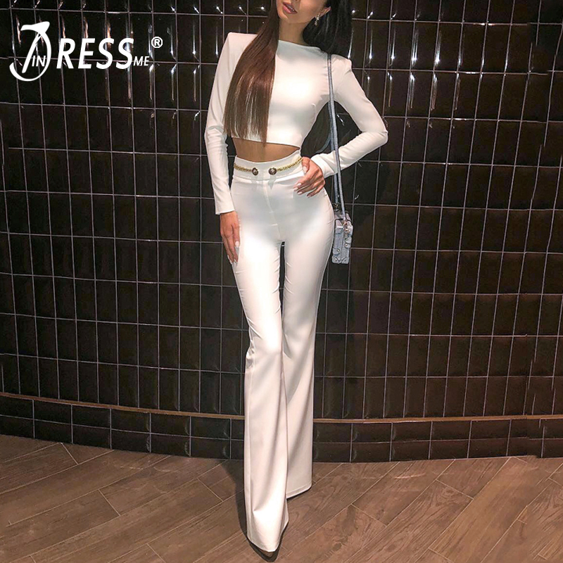INDRESSME 2019 Fashion O Neck Sexy Short Top Long Pant Suits Set With Button Tassel Formal
