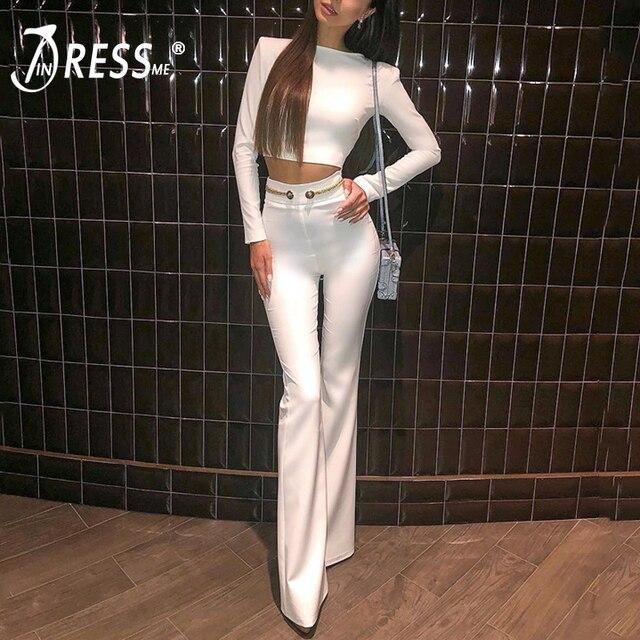 e0813f62d0 INDRESSME 2019 de moda cuello Sexy Top corto pantalón largo trajes con botón  borla Formal de